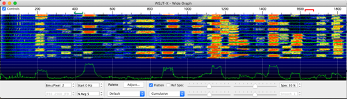 FT8 waterfall graph showing crowded bands.